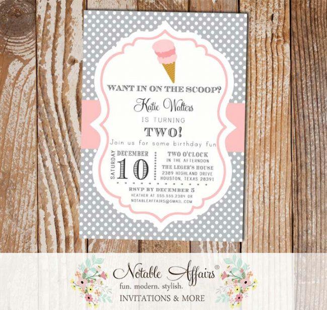 Polka Dot and Light Pink Chevron Ice Cream Cone Dessert Birthday Party Baby Shower Modern Invitation