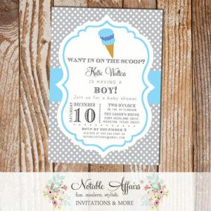 Polka Dot Gray and Blue Ice Cream Cone Dessert Birthday Party Baby Shower Modern Invitation