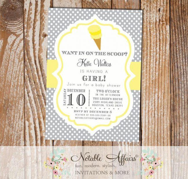 Polka Dot Gray and Light Butter Yellow Ice Cream Cone Dessert Birthday Party Baby Shower Modern Invitation