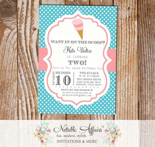 Polka Dot Turquoise and Pink Chevron Ice Cream Cone Dessert Birthday Party Baby Shower Modern Invitation