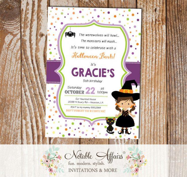 Polka Dots Witch Cat Spider Halloween Birthday Party invitation