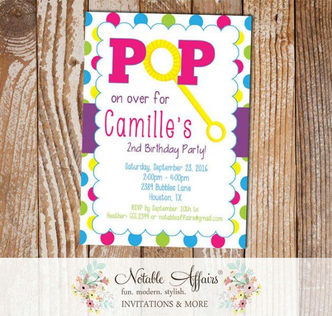 Pop on Over Bubbles Birthday Invitation