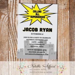 Pow Bam Boom Splat Calling All Superheroes Birthday Party invitation