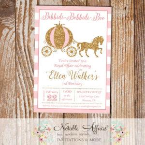 Princess Horse and Carriage Birthday Invitation on horizontal stripes