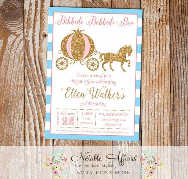 Princess Horse and Carriage Birthday Invitation on ice blue horizontal stripes