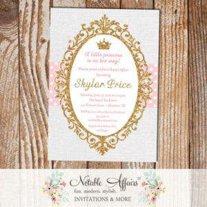 Princess Light Pink Gold Glitter on gray burlap background