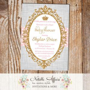 Princess Light Pink Gold Glitter on gray linen background