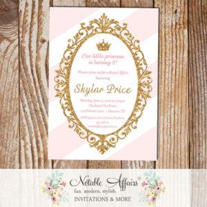 Princess Light Pink Gold Glitter on light pink stripe background