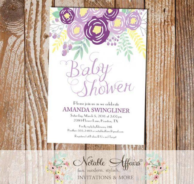Purple Lavender Gray Flowers Modern Baby Shower invitation