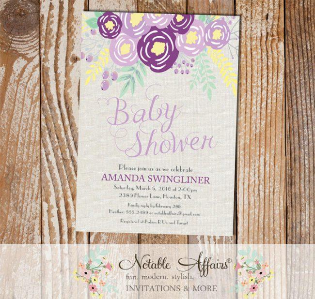 Purple Lavender Gray Flowers Modern Baby Shower invitation on gray burlap background
