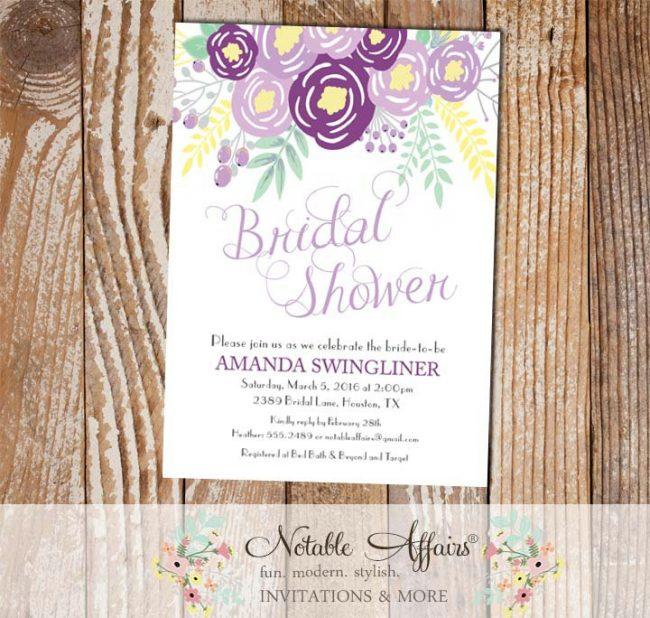 Purple Lavender Gray Flowers Modern Bridal Shower invitation