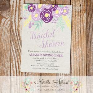 Purple Lavender Gray Flowers Modern Bridal Shower invitation on gray burlap background