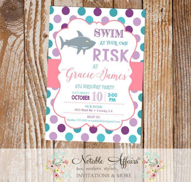 Purple Lavender Pink Teal and Turquoise Shark Polka Dots Birthday invitation