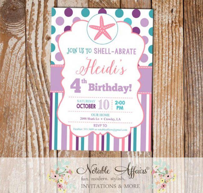 Purple Lavender Pink Teal and Turquoise Starfish Seashell 2 Polka Dots and Stripes Birthday invitation