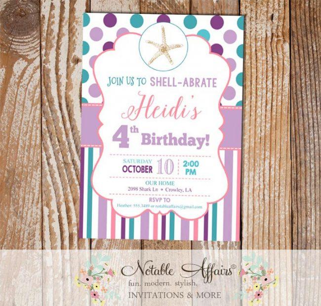 Purple Lavender Pink Teal and Turquoise Starfish Seashell Polka Dots and Stripes Birthday invitation