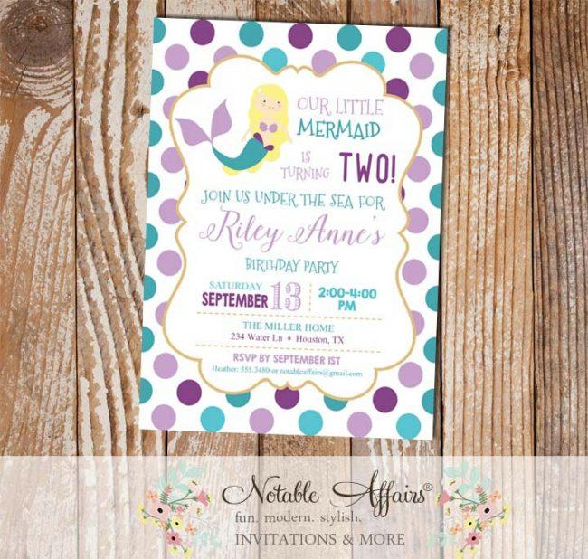 Purple Lavender Teal and Turquoise Blonde Mermaid Polka Dots Birthday invitation