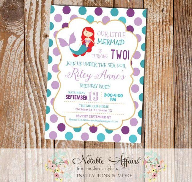 Purple Lavender Teal and Turquoise Red Mermaid Polka Dots Birthday invitation