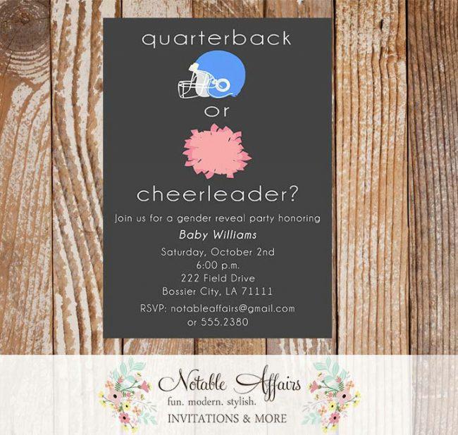 Quarterback or Cheerleader Gender Reveal Football Invitation Pink vs Blue
