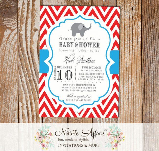 Red and Blue Chevron Elephant Circus Fair Modern Baby Shower Birthday Invitation