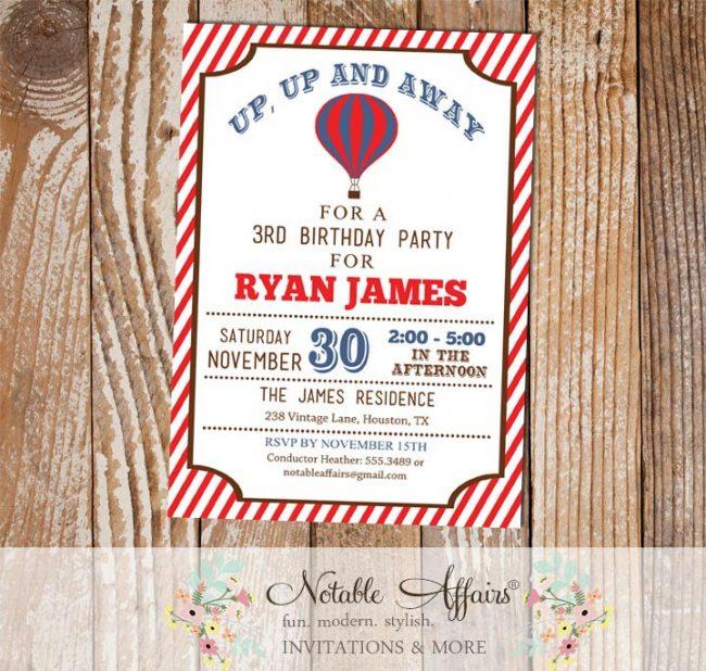 Red Stripes and Light Navy Hot Air Balloon Birthday invitation on Kraft background