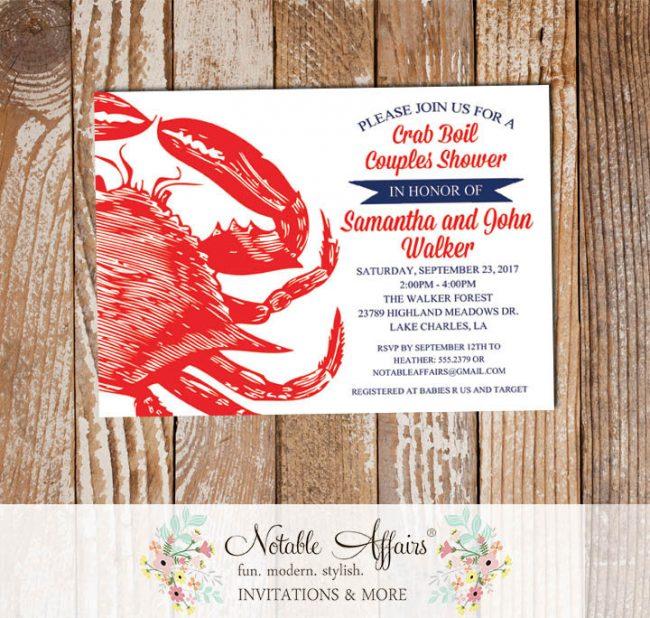 Red White Dark Navy Crab Seafood Crab Boil Invitation