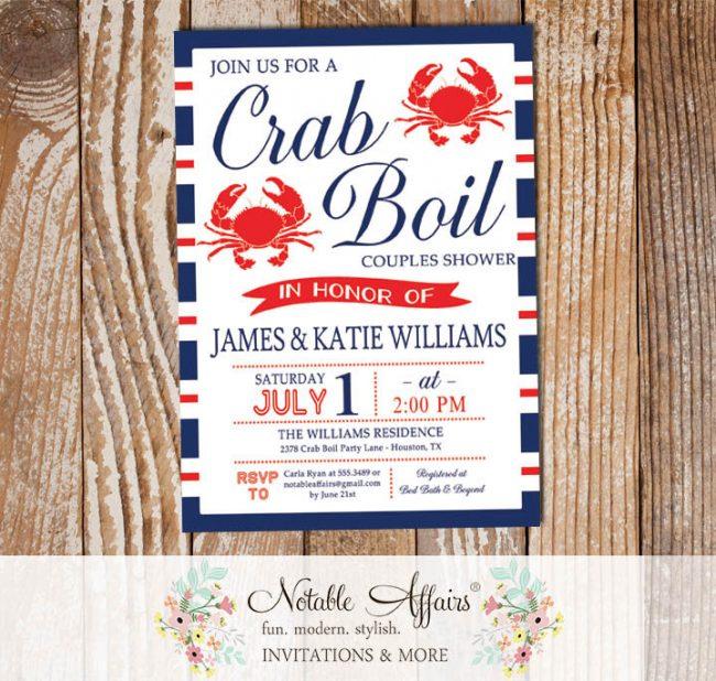 Red White Dark Navy Crab Seafood Crab Boil Multi Stripes Invitation