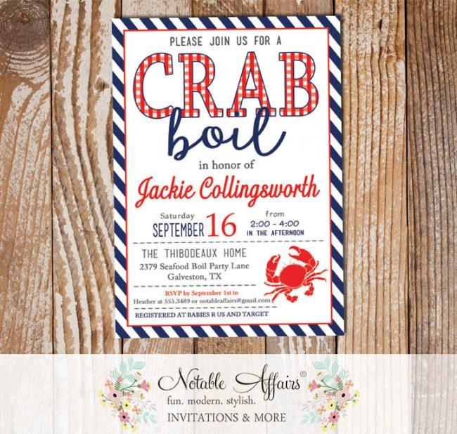Red White Dark Navy Diagonal Stripes Plaid Seafood Crab Boil Invitation