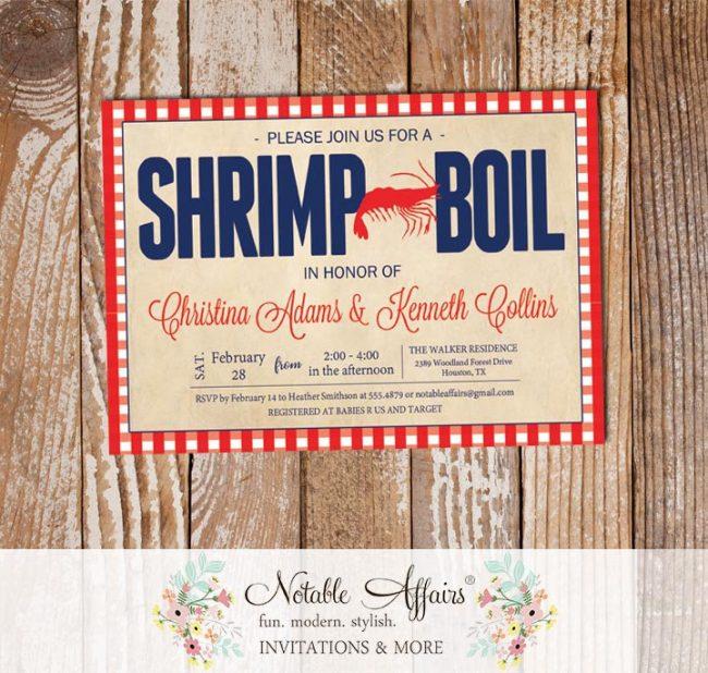 Red White Dark Navy Gingham Vintage Seafood Shrimp Boil Invitation