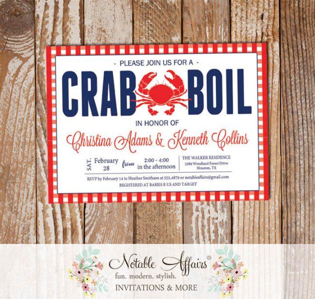 Red White Dark Navy Horizontal Gingham Seafood Crab Boil Invitation