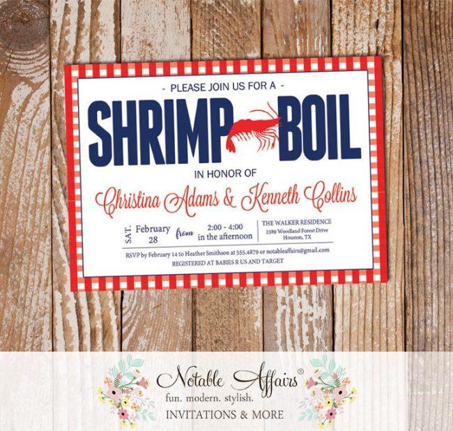 Red White Dark Navy on Gingham Seafood Shrimp Boil Invitation