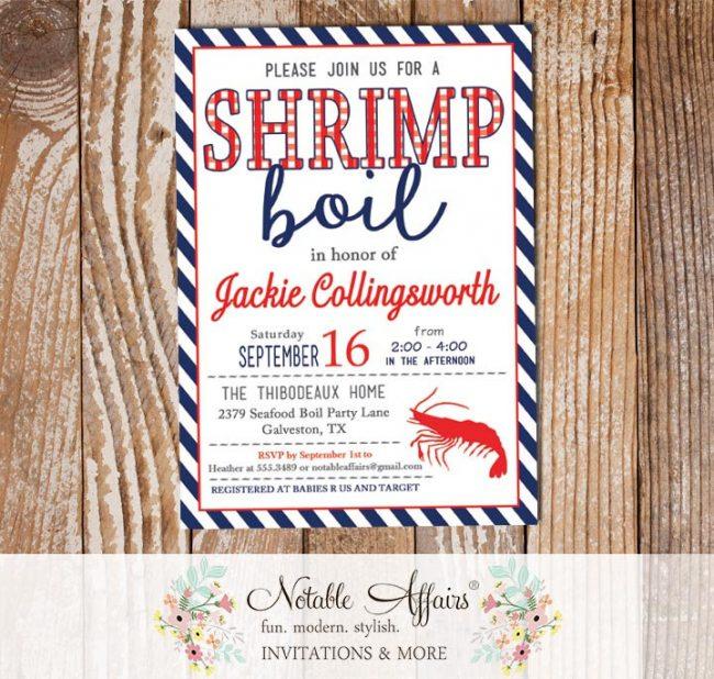 Red White Dark Navy Stripes Shrimp Seafood Boil Invitation
