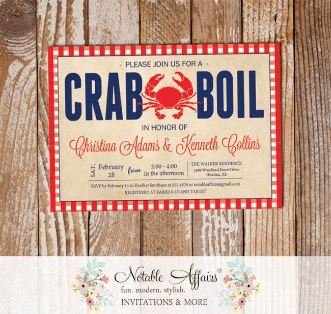 Red White Dark Navy Vintage Gingham Seafood Crab Boil Invitation