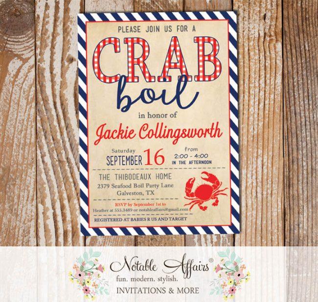 Red White Dark Navy Vintage Stripes Crab Seafood Crab Boil Invitation