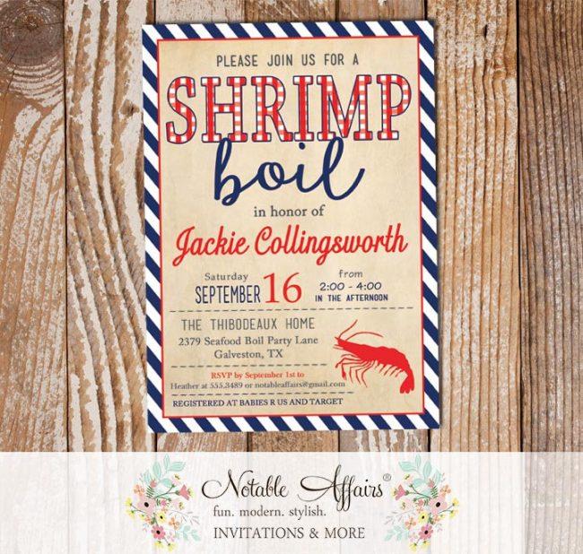Red White Dark Navy Vintage Stripes Shrimp Seafood Boil Invitation