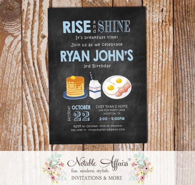 Rise and Shine Breakfast Baby Blue Chalkboard Boy Pancakes and Pajamas Birthday invite
