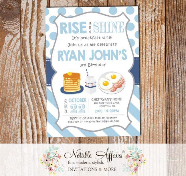 Rise and Shine Breakfast Baby Blue Light Navy Boy Pancakes and Pajamas Birthday invitation