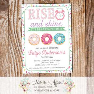 Rise and Shine Donut Sprinkles Birthday Invitation