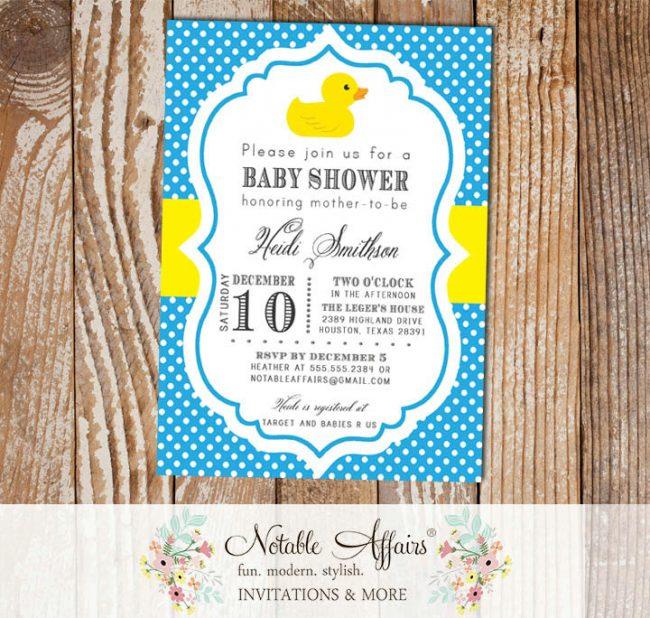 Rubber Duck Polka Dot Baby Shower Birthday Party Gender Reveal invitation