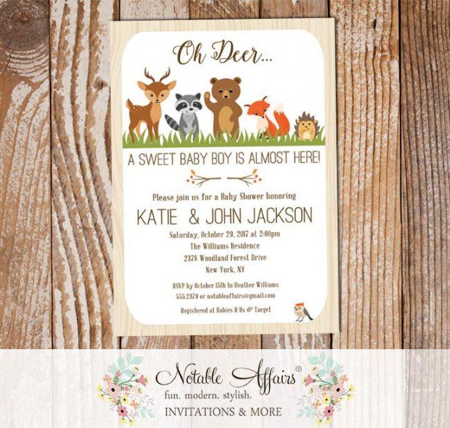 Rustic Oh Deer Woodland Animals Vertical Baby Shower invitation