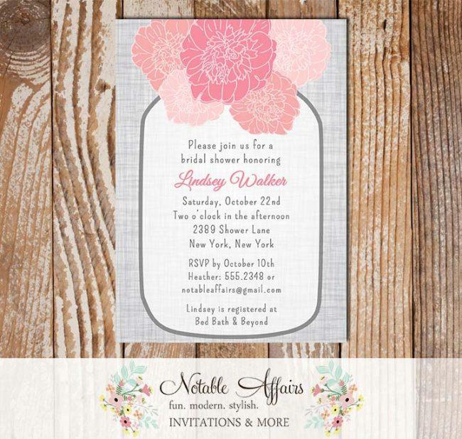 Rustic Vintage Elegant Modern Gray Linen Floral Pink Peony Mason Jar Bridal Wedding or Baby Shower Invitation