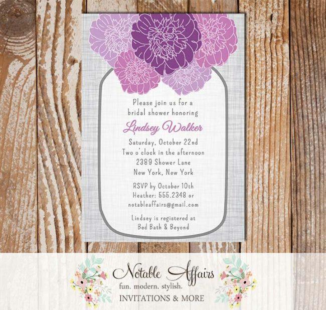 Rustic Vintage Elegant Modern Gray Linen Floral Purple Eggplant Plum Peony Mason Jar Bridal Wedding or Baby Shower Invitation