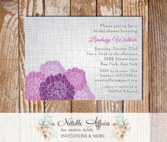 Rustic Vintage Elegant Modern Gray Linen Floral Purple Peony Bridal Wedding or Baby Shower Invitation