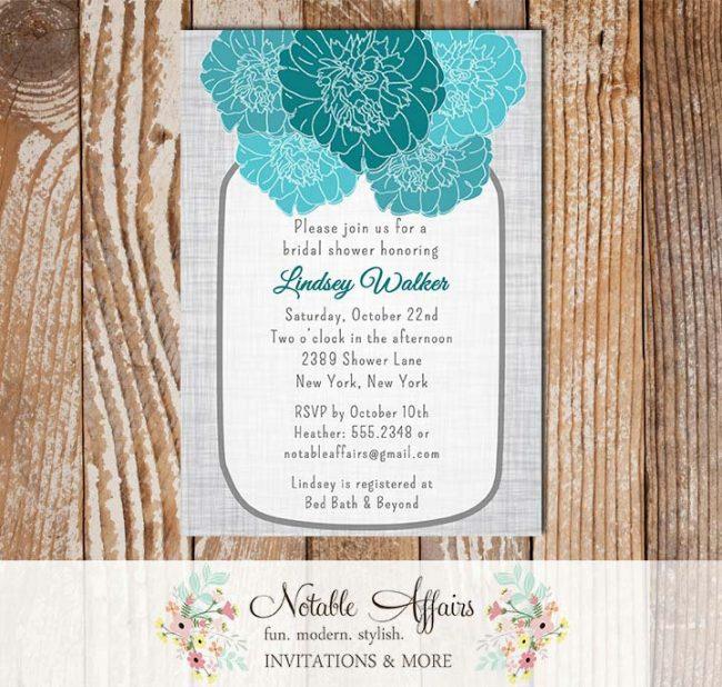 Rustic Vintage Elegant Modern Gray Linen Floral Turquoise Teal Peony Mason Jar Bridal Wedding or Baby Shower Invitation