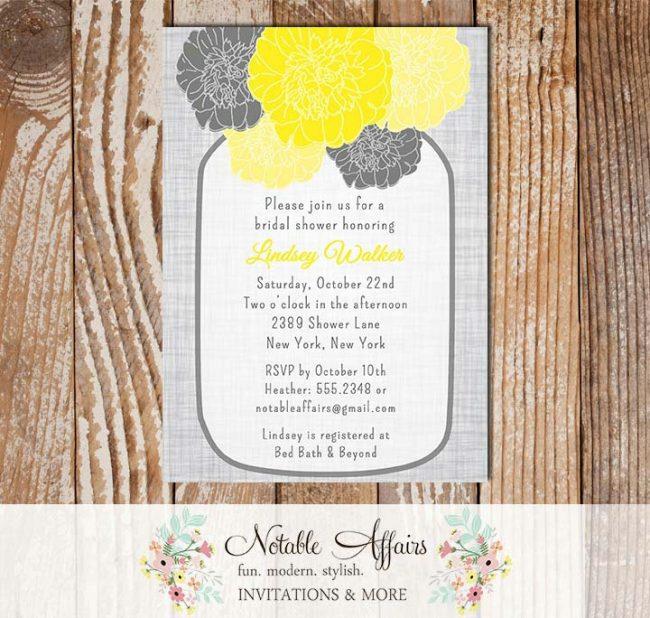 Rustic Vintage Elegant Modern Gray Linen Floral Yellow Mustard Peony Mason Jar Bridal Wedding or Baby Shower Invitation