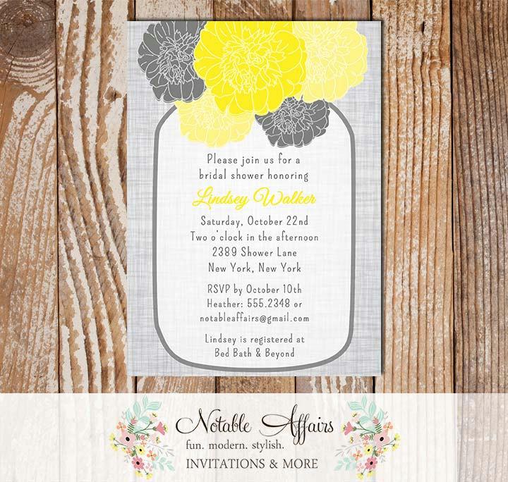 vintage elegant gray linen floral yellow mustard peony mason jar