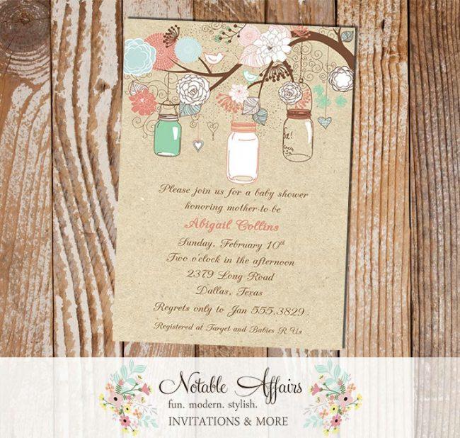 Rustic Vintage Elegant Modern Kraft Floral Mason Jars Bridal Wedding Baby Shower Gender Reveal Neutral Blue Pink