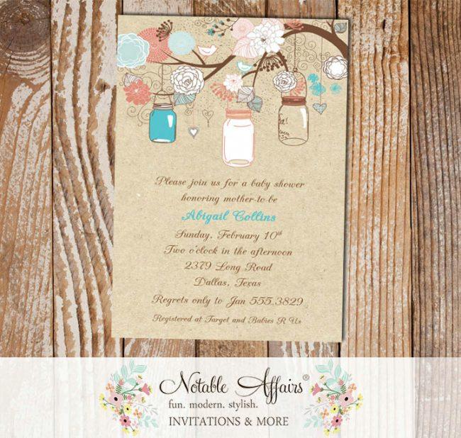 Rustic Vintage Elegant Modern Kraft Floral Mason Jars Bridal Wedding Baby Shower Gender Reveal Neutral Blue Pink Coral