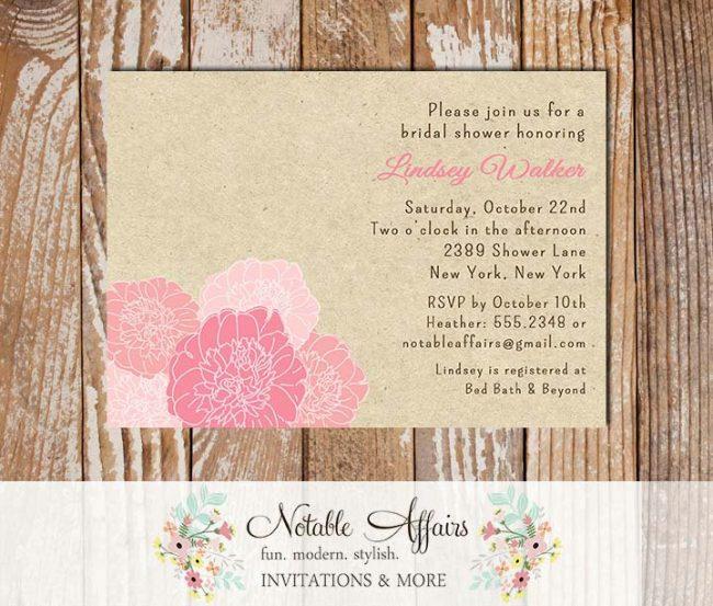 Rustic Vintage Elegant Modern Kraft Floral Pink Peony Bridal Wedding or Baby Shower Invitation