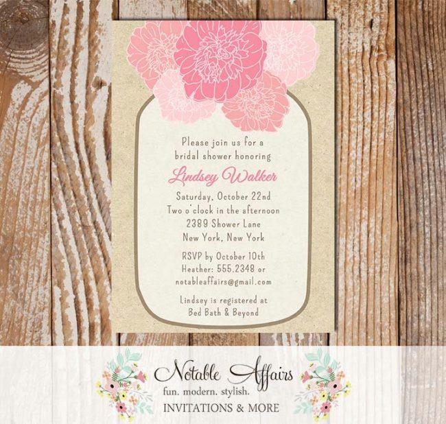 Rustic Vintage Elegant Modern Kraft Floral Pink Peony Mason Jar Bridal Wedding or Baby Shower Invitation