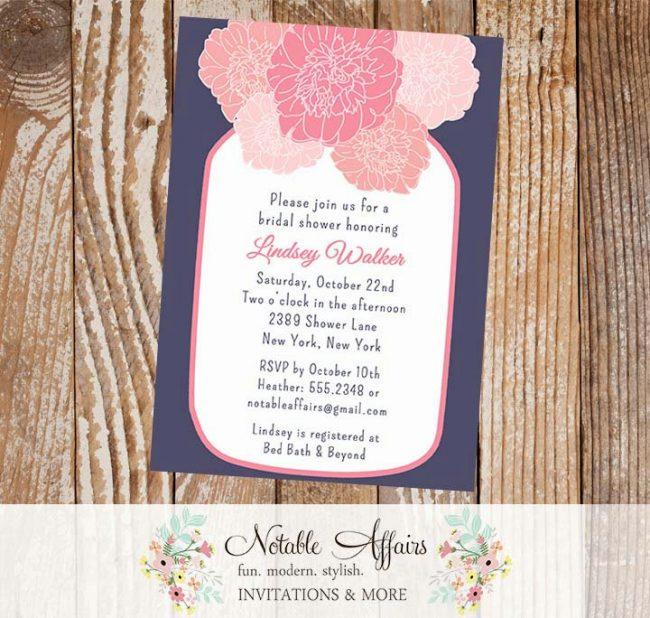 Rustic Vintage Elegant Modern Navy and Pink Floral Peony Mason Jar Bridal Wedding or Baby Shower Invitation